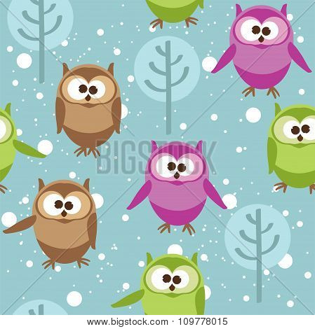 Vector Seamless Pattern With Cute Cartoon Owls