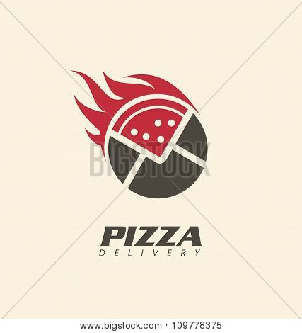 Creative symbol concept for pizza delivery. Pizza logo layout. Logo inspiration for pizzeria or rest