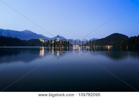 Dawn At Lake Bled With Blue Skies, Slovenia