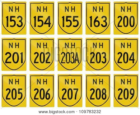 Collection Of Route Shields Of Indian National Highways