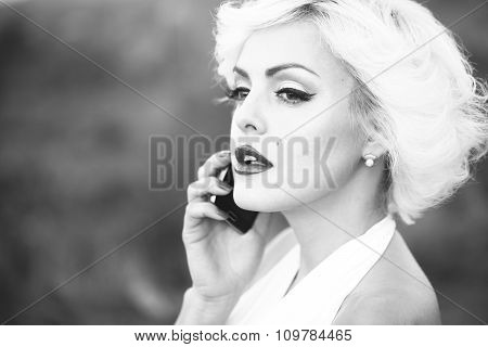 Sexy Blonde With Phone