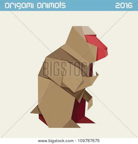 Origami Monkey. Vector Simple Flat Illustration. New Year 2016