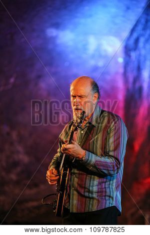 WIELICZKA POLAND - NOVEMBER 2 2015: John Scofield playing live music at The Cracow Jazz All Souls'Day Festival in The Wieliczka Salt Mine. Poland