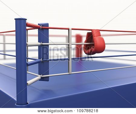 Boxing Gloves Hanging On Ropes Of Ring. 3D.