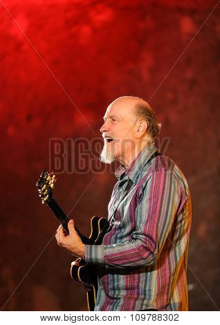 WIELICZKA POLAND - NOVEMBER 2 2015: John Scofield playing live music at The Cracow Jazz All Souls' Day Festival in The Wieliczka Salt Mine. Poland