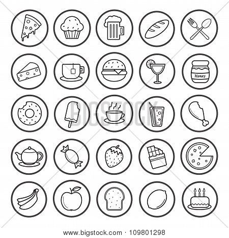 Food and drinks linear icons set. Vector line art illustrations isolated on white poster