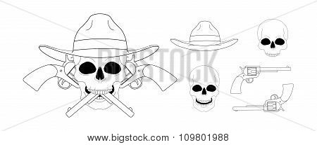 Skull in hat 2 crossed pistols emblem. Linear