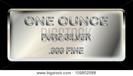 A one ounce ingot of fine silver poster