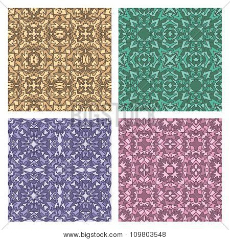 Set Of Four Seamless Eastern Carpet Patterns