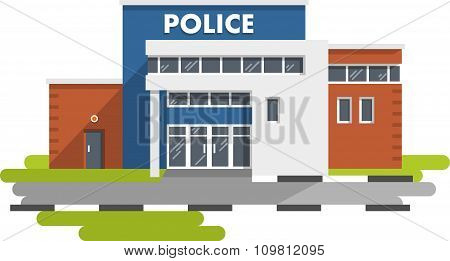 Police station building on white background