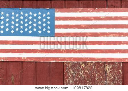 Us Flag, Painted On Old Wooden Wall, Grunge.