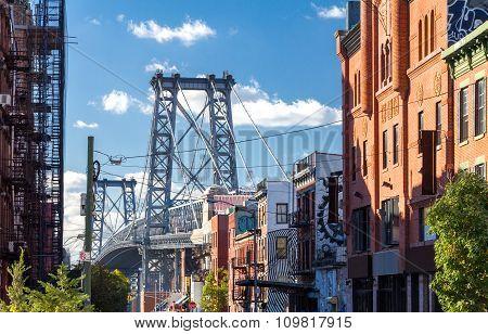 Williamsburg Bridge Street Scene NYC
