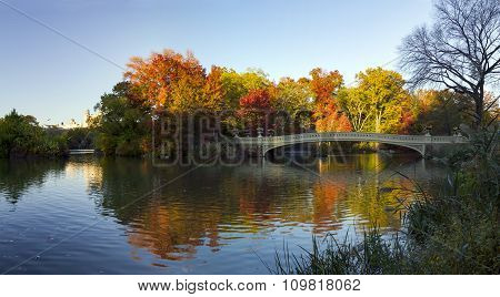 Central Park Colorful Fall Panoramic Landscape Scene in Manhattan New York City