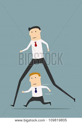 Businessman with long legs winning competition
