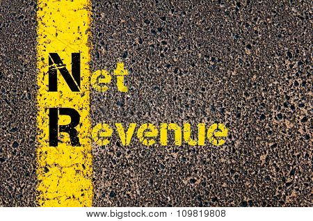 Concept image of Business Acronym NR as Net Revenue written over road marking yellow paint line. poster