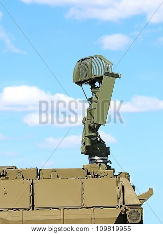 MOSCOW REGION  -   JUNE 18:All-around antenna for air defense complex on a rotating platform   -  on June 18, 2015 in Moscow region