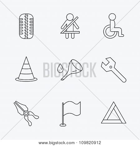 Tire tread, traffic cone and wrench key icons.