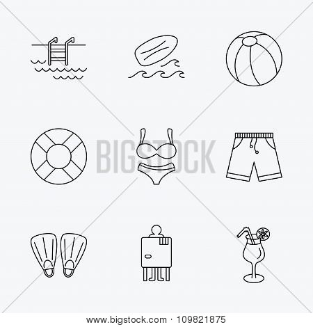Surfboard, swimming pool and trunks icons.