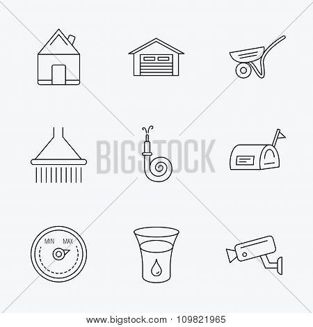 Real estate, garage and heat regulator icons.