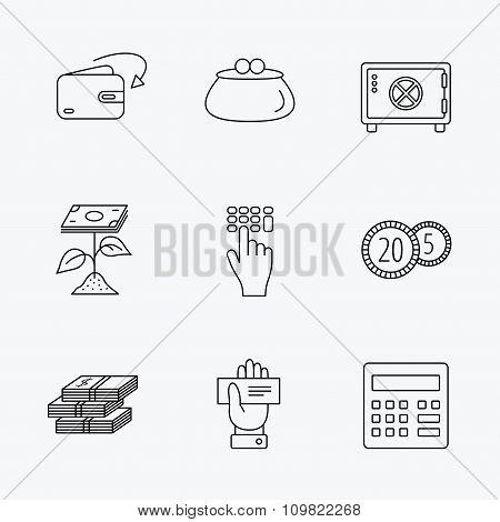 Cash money, safe box and calculator icons.