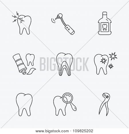 Tooth, stomatology and toothache icons.