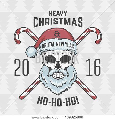 Bad Santa Claus biker with candies print design. Vintage Heavy metal Christmas portrait. Rock and ro