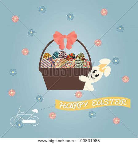 Easter Basket With Eggs On Blue Pastel Background