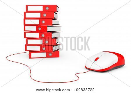 Computer Mouse with Stack of Red Achive Office Binders on a white background poster