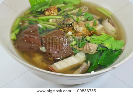 boiled pork blood and entrails with soup