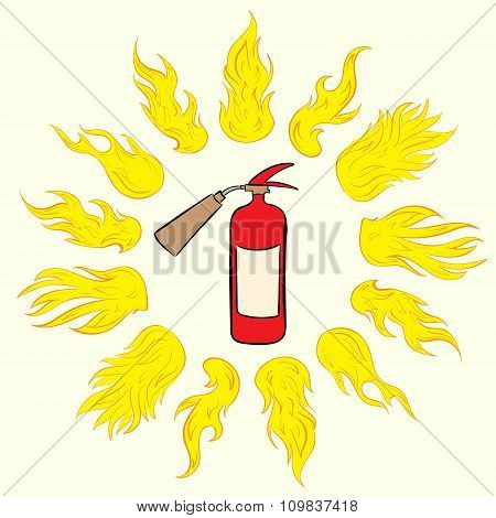 Extinguisher in fire circle