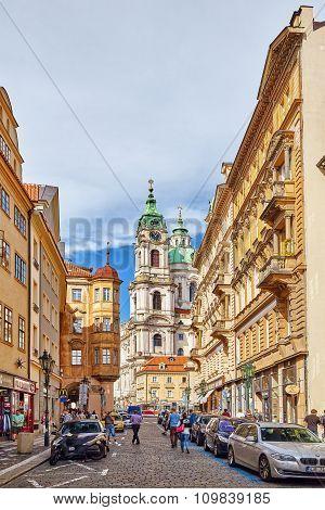 Prague, Czech Republic-september 5, 2015: Malostranske Namesti-main Square Of Prague's Mala Strana(l