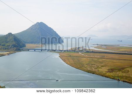 View of the Gulf Nakhodka (old name of the Gulf of America) and the city of Nakhodka with a bird-eye view. Far East, Primorsky Krai, Russia.