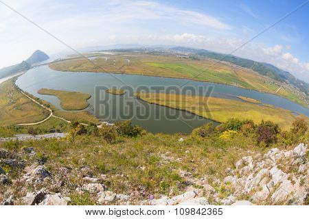 View of the Gulf Nakhodka (old name of the Gulf of America) and the city of Nakhodka with a bird-eye view. Taken with a fisheye lens. Far East, Primorsky Krai, Russia.