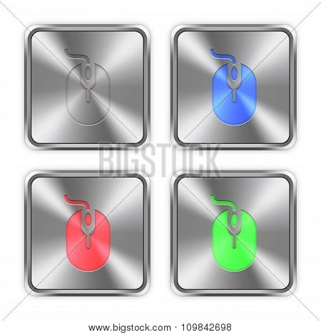 Color Computer Mouse Steel Buttons