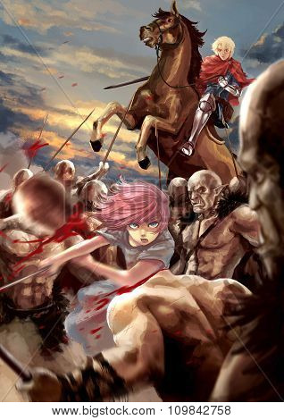 Fantasy Cartoon Illustration Of A Female Warrior Girl And A Male Knight Fighting Orc Army Monster In
