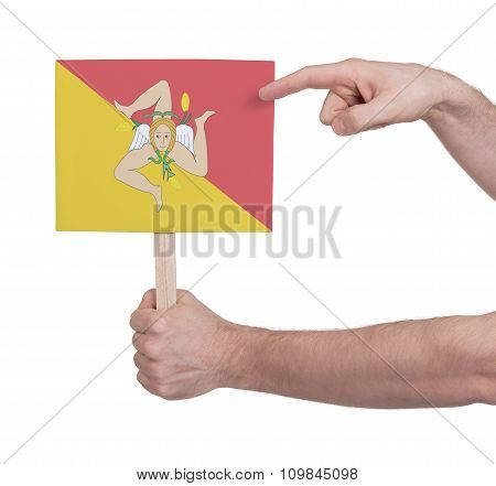 Hand Holding Small Card - Flag Of Sicily