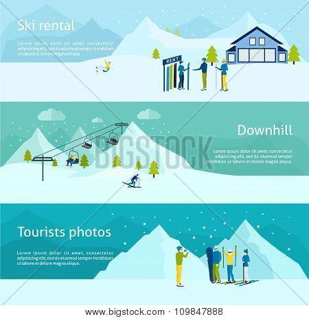 Ski resort horizontal banner set isolated vector illustration