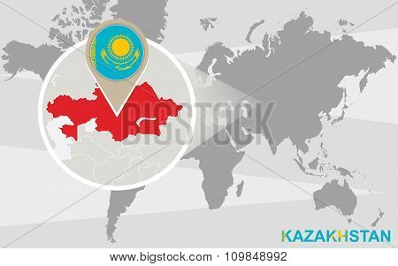 World Map With Magnified Kazakhstan