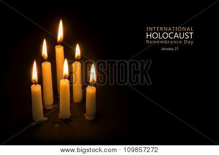 Holocaust Remembrance Day, January 27, Candles Against Black Background