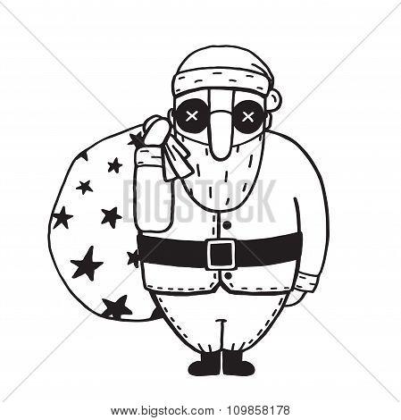 Santa Claus in Glasses Outline Flat Cartoon Illustration