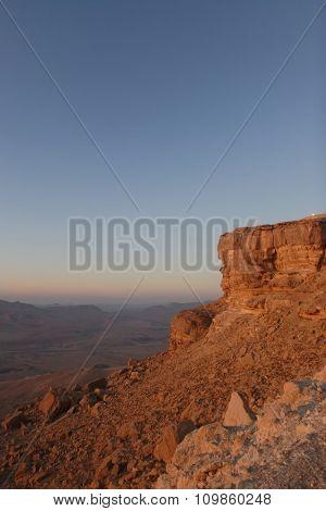 Crater in the Negev desert in Israel