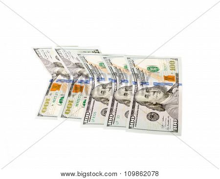Money hundred dollars isolated on white
