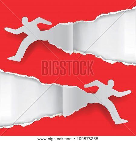 Paper Running Men ripping paper