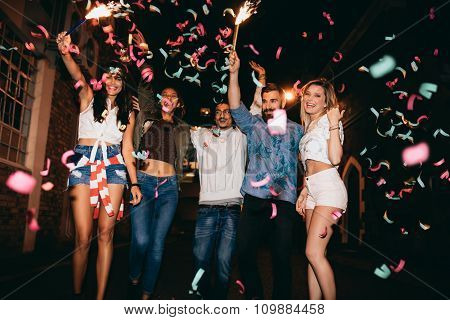 Group Of People Having A Party
