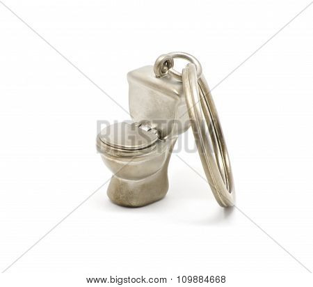 Isolated Toilet Keychain Closed