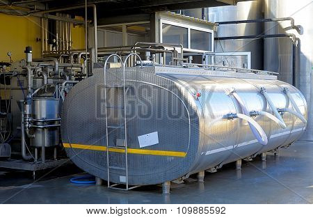 Large stainless steel tank