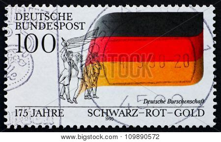 GERMANY - CIRCA 1990: a stamp printed in the Germany shows German Flag 175th Anniversary of German Students Fraternity, circa 1990