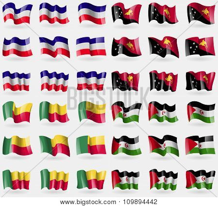 Los Altos, Papua New Guinea, Benin, Westarn Sahara. Set Of 36 Flags Of The Countries Of The World.