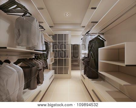 Luxury wardrobe in modern style. 3d render