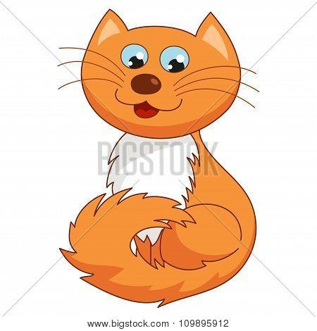 Ginger cartoon kitty, vector illustration of funny joyful cat